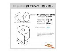 Étiquette Bobine 210x63.5ml  DIAMETRE 76-143